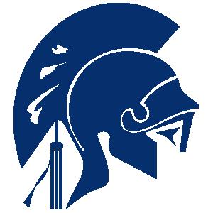 Longmont High School Trojan mascot in blue